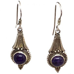 Vintage Artisan Sterling Silver Natural Amethyst Earrings for Sale in Ossining, NY