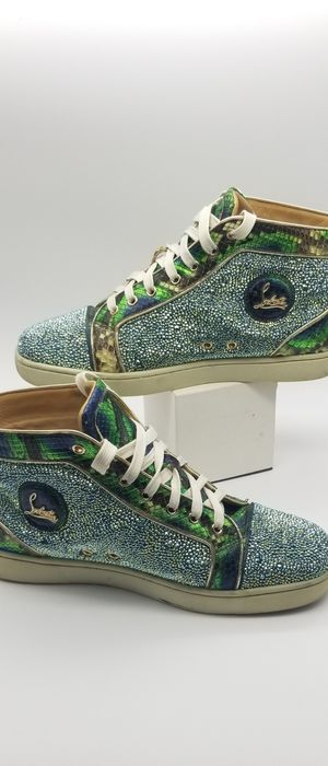 Christian Louboutin rhinestone sneakers with snake skin trim for Sale in Whittier, CA