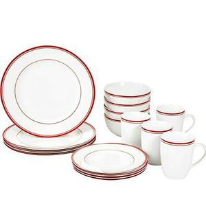 New 16-Piece Cafe Stripe Kitchen Dinnerware Set, Plates, Bowls and Mugs for Sale in Columbus, OH