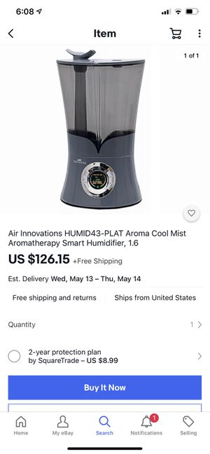 Air Innovations HUMID43-PLAT Aroma Cool Mist Aromatherapy Smart Humidifier, 1.6 for Sale in Mt. Juliet, TN