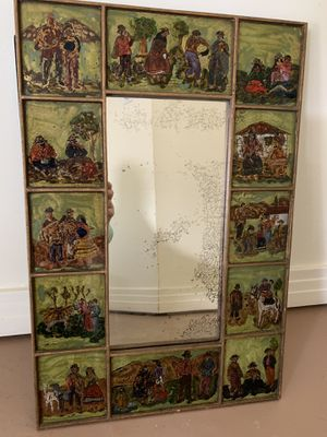 Gorgeous wood hand painted 12 individual different scenes antique mirror for Sale in Boca Raton, FL