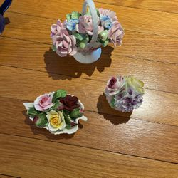 Three pieces of Antique Glass Flowers for Sale in Fairmont,  WV