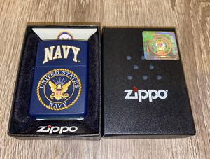 US United States Navy Blue Matte Zippo Lighter New in Box. Original style (lighter fluid flint type) for Sale in Dallas, TX
