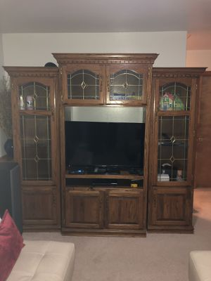 All Natural Brown Wood Entertainment Center for Sale in House Springs, MO
