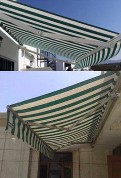New in box Manual Patio 10 feet wide × 8' Retractable Sunshade Awning deck cover sun block canopy shade dark green stripe for Sale in Los Angeles,  CA