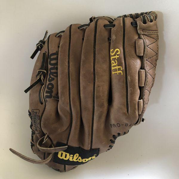 "2 Junior Genuine Leather Baseball Gloves 12"" Wilson Rawlings"