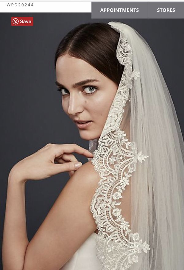 Cathedral Veil with Sequined Lace Appliques-Wedding