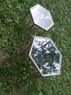 Two Gold Stacking Mirrored Glass Side Tables for Sale in Columbus, OH