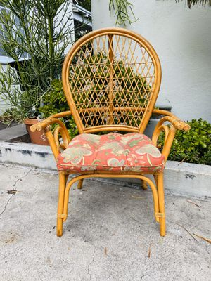 Boho Rattan Bamboo Wicker Mini Peacock Style Desk Accent Dining Lounge Chair for Sale in San Diego, CA