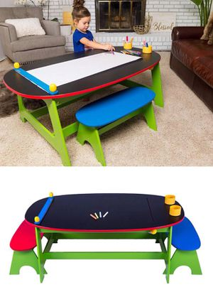 "New in box kids activity table 47""x28""x17"" tall and 2 bench children kids chalk board top furniture for Sale in Whittier, CA"