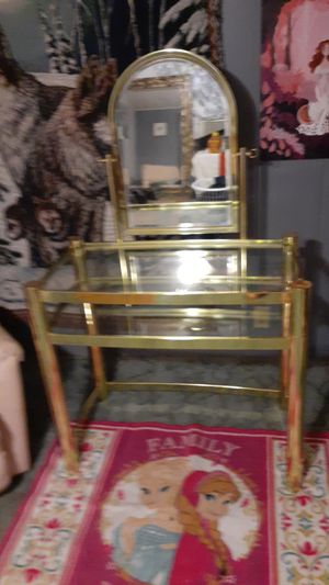 Very beautiful vanity / makeup station glass and metal built very strong for Sale in Tampa, FL