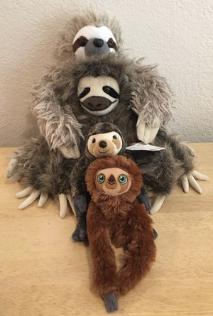 4 Sloth Plushies - Croods, Beanie Baby, Wild Republic, WWF for Sale in Gold River, CA
