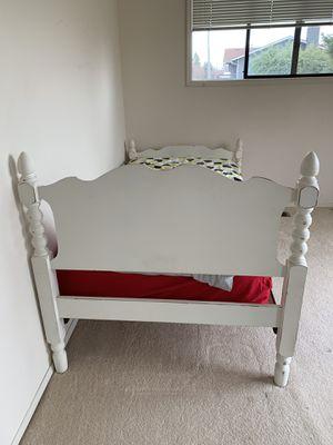 White Wood Twin Head & Footboard w frame for Sale in Kirkland, WA