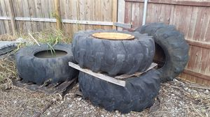 Backhoe tires, two with rims for case backhoe, will also fit most other brands as well. for Sale in Frisco, TX