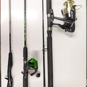 Three Fishing Poles with Two Reels for Sale in Tukwila, WA