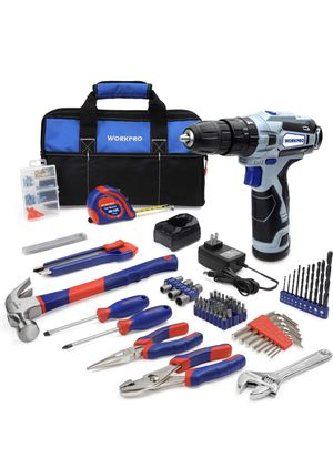 NEW!! WORKPRO Home Tool Kit and 12V Cordless Drill, 177 Pieces Combo Kit with 14-inch Tool Bag for Sale in Los Angeles, CA