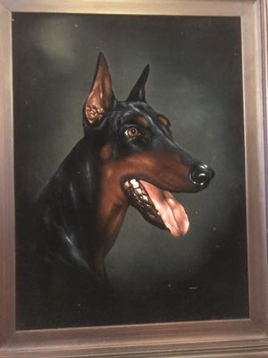 Dog vintage oil painting wall art for Sale in San Diego, CA