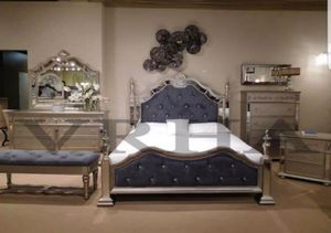 POST MASTER SET 4PC QUEEN BED DRESSER MIRROR AND NIGHTSTAND/NO MATTRESS INCLUDED for Sale in Glendora, CA