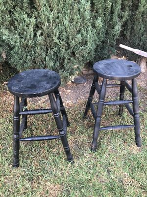 2 solid wood stools for Sale in Rancho Cucamonga, CA