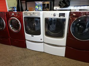Maytag electric front load set washer and dryer in great condition for Sale in McDonogh, MD
