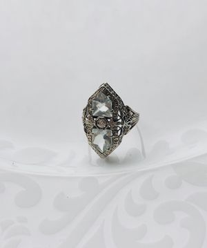 AMAZING Antique 14K white gold AQUAMARINE & DIAMOND ornate filigree ring for Sale in St. Charles, IL