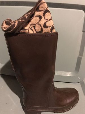 Coach Rain boots Women's size 8 barely worn! for Sale in Old Bridge Township, NJ