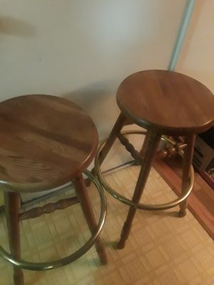 Bar Stools solid wood with brass foot rest. Perfect for bar, basement or kitchen. for Sale in Florissant, MO