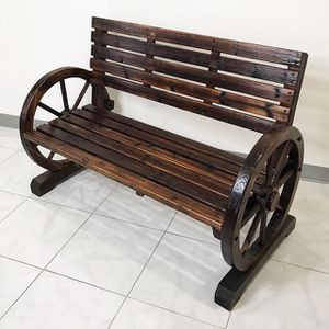 "(NEW) $130 Large 50"" Wooden Wagon Bench Rustic Wheel for Patio Garden Outdoor 50x23x34"" for Sale in Whittier, CA"