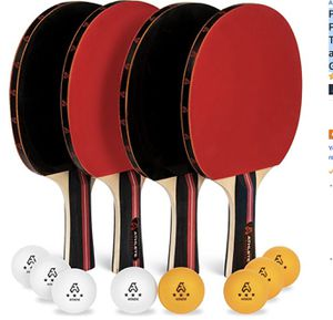 Ping Pong Paddle Set of 4 - Pro Wood Ping-Pong Paddles and 8 Light Regulation Table Tennis Balls - This 4-Player Racket and Ball Kit is the Perfect I for Sale in Oakland, CA