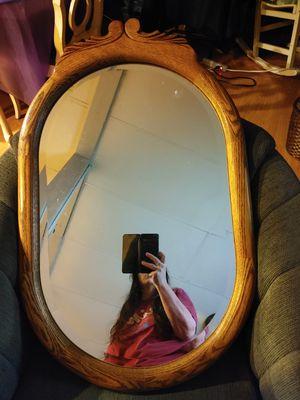 Beveled glass oak wall mirror for Sale in Federal Way, WA