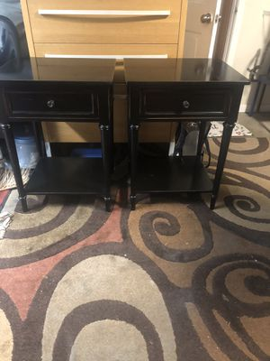 2 Beautiful modern black wood nightstand. ( 22 inch long X 19 inch wide x 30 inch height for Sale in Mukilteo, WA