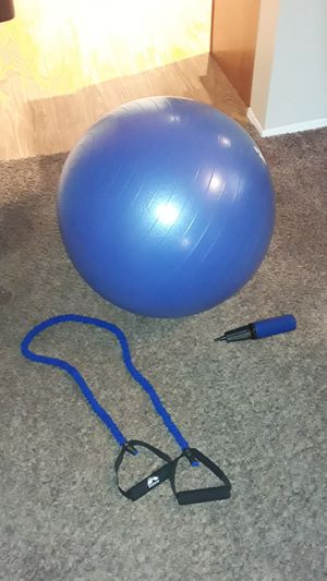 Exercise ball and exercise band with ball pump for Sale in Everett, WA