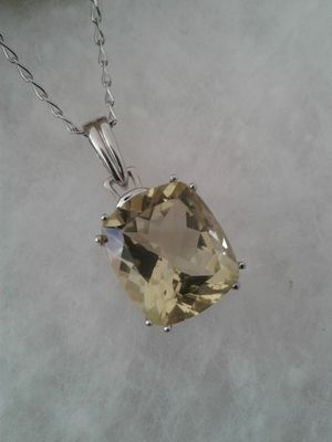 Genuine Gemstone Solitair Necklace, Sterling Silver and Platinum for Sale in Woodbridge, VA