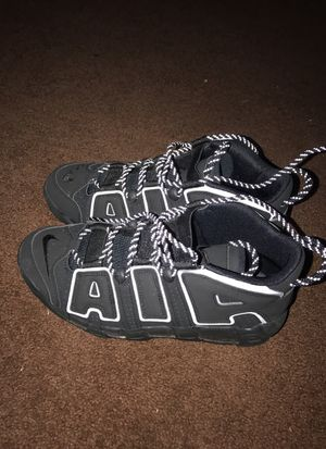 Triple black nike uptempo's #AIRS #scottiePippen's limited edition worn once this is a vary rare shoe for Sale in Washington, DC