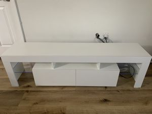White Modern TV Stand with LED Light for Sale in Miami, FL