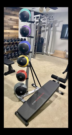 Brand new 42 lb medicine ball set with rack and slant weight bench (not negotiable) for Sale in Chula Vista, CA