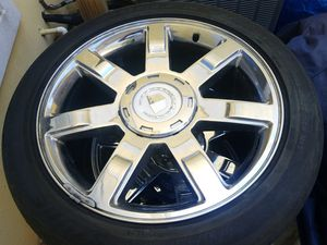 "22"" chrome rims w tires Caddy Escslade for Sale in Miramar Beach, FL"