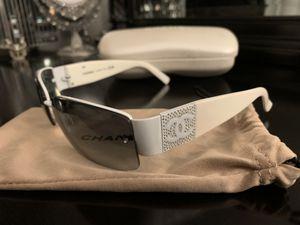 Authentic CHANEL 4117 B Sunglasses White Rhinestone Italy for Sale in Redlands, CA