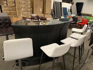 2pc outdoor wicker bar table with glass top. Retails for $1699 for Sale in Alexandria, VA