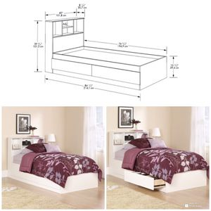 New!! Soft White Storage Bed,Bookcase Headboard,Twin Storage Bed for Sale in Phoenix, AZ