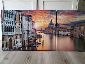 """3 Piece Canvas Wall Art Decor- Venice Sunset. Modern Home Decor Stretched band Framed Ready to Hang - 16""""x24""""x 3 panels wall decor. for Sale in Hacienda Heights, CA"""