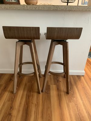 "Mid-Century Modern Swivel Stool, Set of 2, Walnut Color, 29"" for Sale in San Diego, CA"
