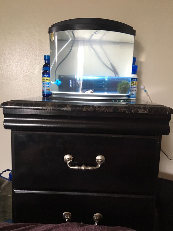 Fish, with fish tank, filter, stand, food, and water treatments
