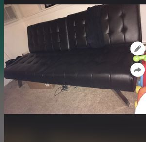 Black leather futon for Sale in Stoughton, MA