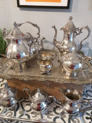 Silver plate tea set with platter for Sale in LaBelle, FL