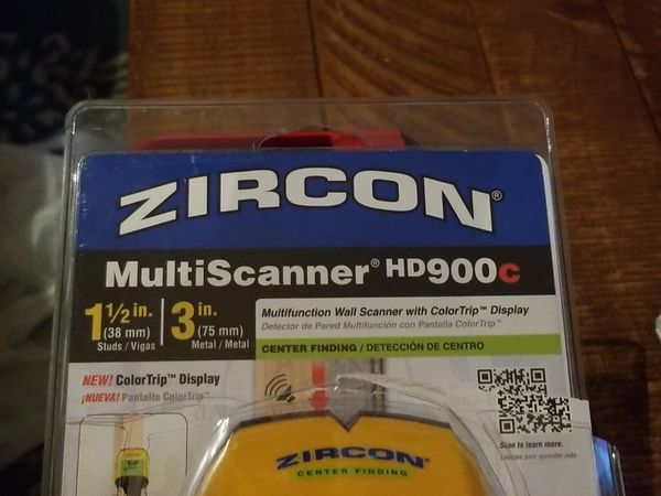 Zircon HD900C 9 Volt 4-Mode Multicolor Multiscanner for Finding Studs, Live Wire, or Metal w/ Backlit Display tool