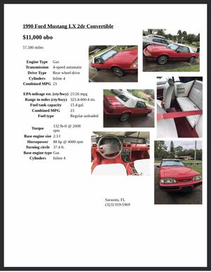 1990 Ford Mustang Convertible 2.3L 4 cylinder for Sale in Sarasota, FL