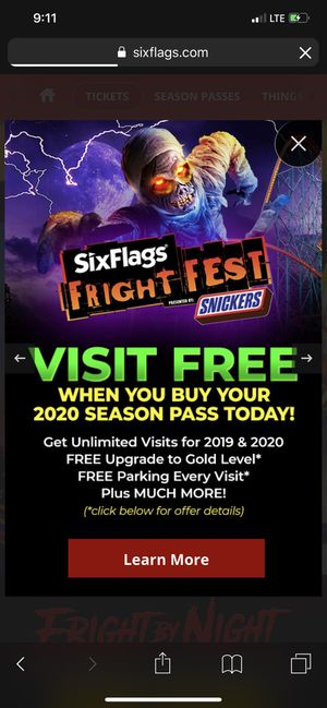 Fright feast admission for Sale in Elk Grove, CA