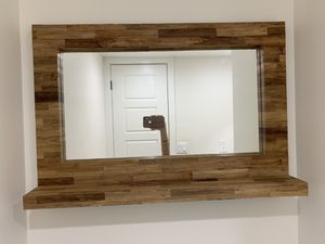 Wood Frame Mirror and Shelf for Sale in Miami, FL