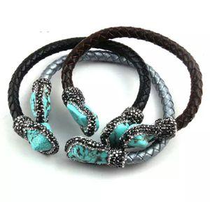 Handmade Paved Blue & White Stone Leather Cuff Bracelet for Sale in Wichita, KS